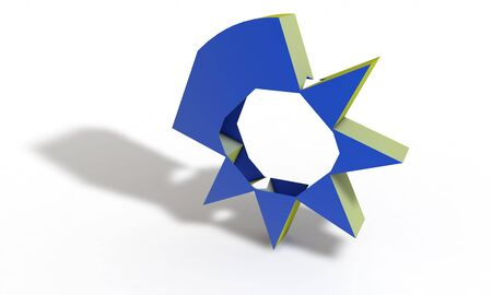 Low poly abstract symbol 3d render, working