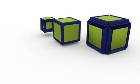 3d illustration level up cubes; isolated on white, background work