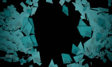 Shattered blue objects,sample text frame background 3d render , working
