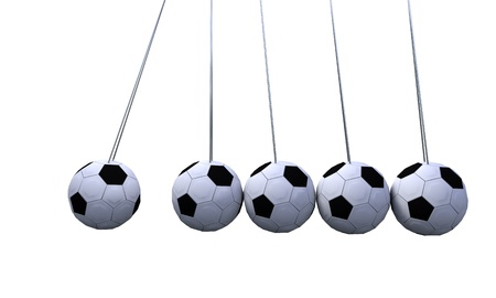 Newtons cradle concept on the white, 3d render