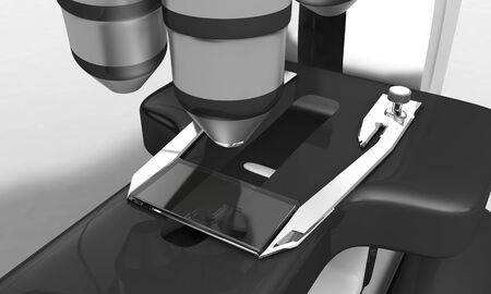 over lab: Background of microscope detail, 3d render working Stock Photo