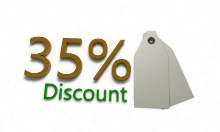 Discount 35 on white , 3d render working