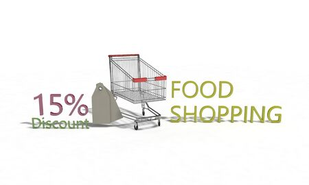 15: Food shopping Discount 15 on white , 3d render working