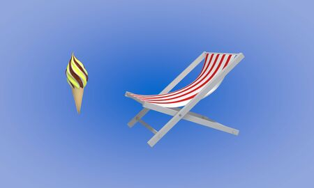 Ice cream and sunbed beach, 3d render working Stock Photo