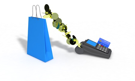 cashless payment: Coins and credit card shopping, 3d render working