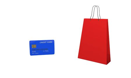 cashless payment: Shopping bag and credit card, 3d render working