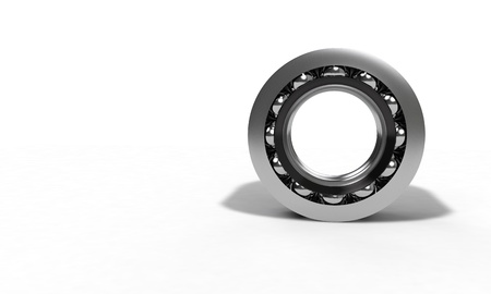 Ball bearing on the white,front view 3d render Stock Photo