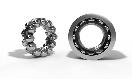Ball bearing parts on the white, 3d render Stock Photo