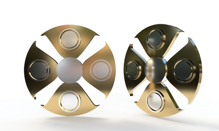 Fidget spinner titanium, 3d render Stock Photo