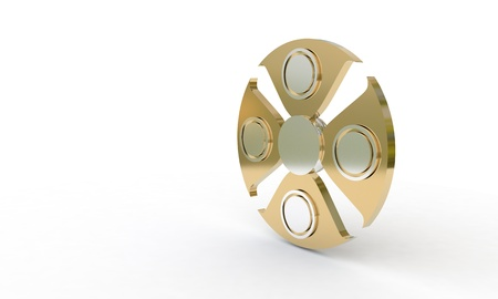 Fidget spinner titaniumon white, 3d render working