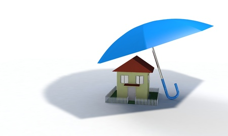 Home insurance concept, 3d render working