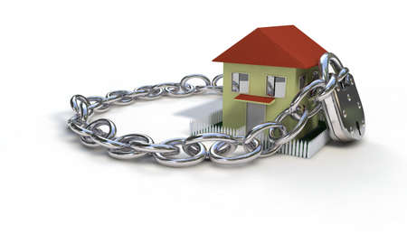 House and lock chain concept, 3d render working Stock Photo
