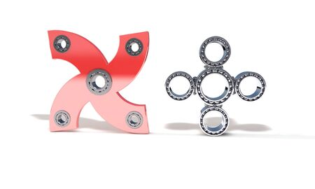 model kit: Classic and red color fidget spinner, 3d render working Stock Photo