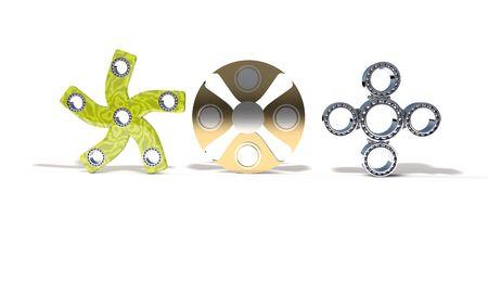 Classic and four titanium fidget spinner, 3d render working Reklamní fotografie
