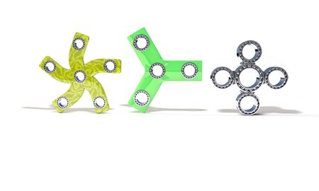 Classic and four three hand fidget spinner, 3d render working