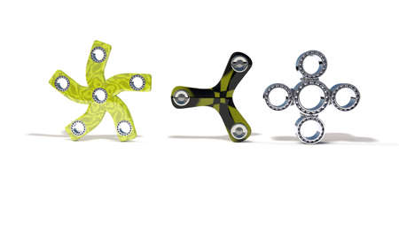 spare: Classic and four colored fidget spinner, 3d render working Stock Photo