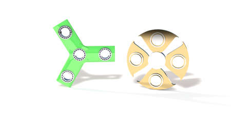 titanium: Three hand and titanium fidget spinner, 3d render working Stock Photo