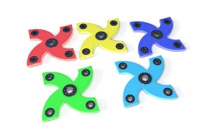 model kit: Different four hand fidget spinner, 3d render working Stock Photo
