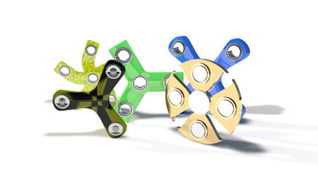Different fidget spinners of background, 3d render working