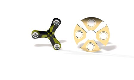 Colored and titanium fidget spinner, 3d render working