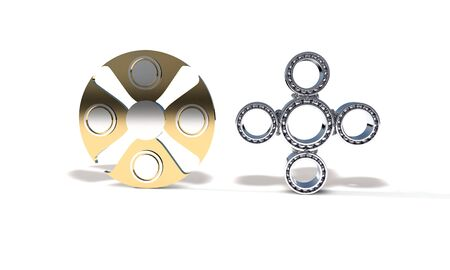 Classic and titanium fidget spinner, 3d render working Stock Photo