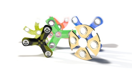 Different colored fidget spinners of background, 3d render working Stock Photo