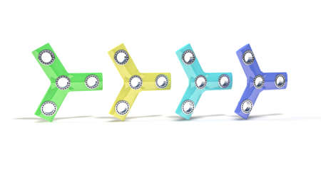 spare: Colored three hand fidget spinner, 3d render working