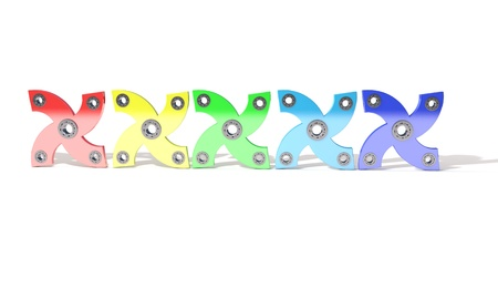 alloy: Colored four hand fidget spinner, 3d render working Stock Photo