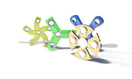 Popular fidget spinners of background, 3d render working