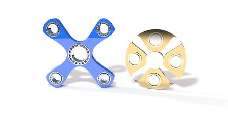 titanium: Four hand and titanium fidget spinner, 3d render working
