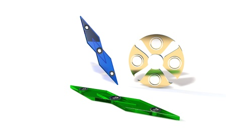 model kit: Speed and titanium fidget spinner, 3d render working Stock Photo