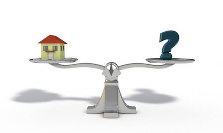 House and question mark concept, 3d render working