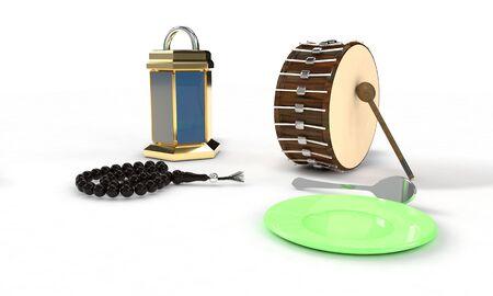 Ramazan kareem concept on the white, 3d render working