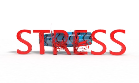 Stress text fracture concept on white, 3d render working Stock Photo