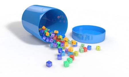 brain food: Vitamin box Spilled elements, 3d render working Stock Photo