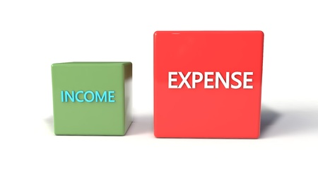 calculate: Income and expense concept, 3d render
