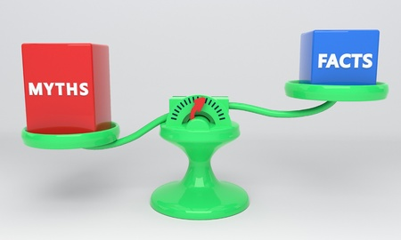 Facts and myths scales, 3d render Stock Photo