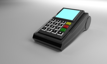POS device on the white, 3d render