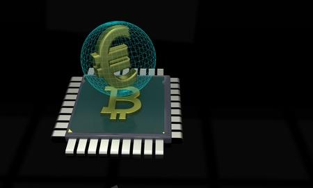 hexadecimal: CPU bitcoin and euro concept, 3d render
