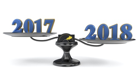 The concept of the new year and the previous year, 3d render