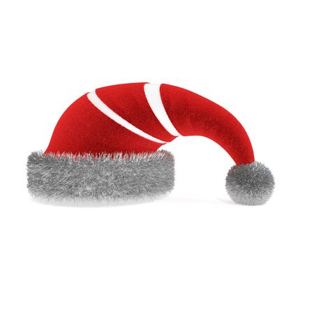 White striped christmas hat, isolated 3d rendering