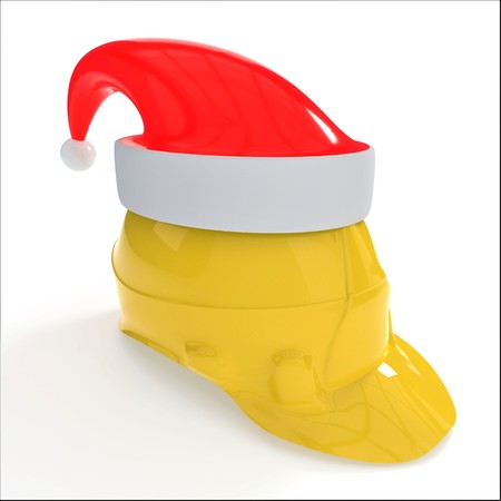Christmas yellow workers helmet symbol, 3d render