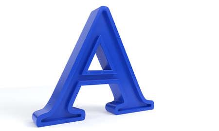Blue letter A, 3d render