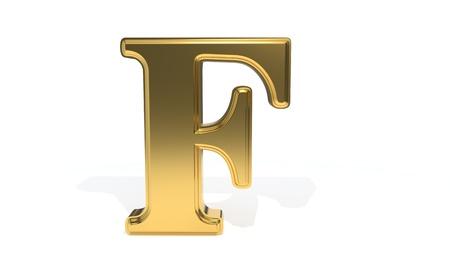 F gold colored alphabet, 3d render