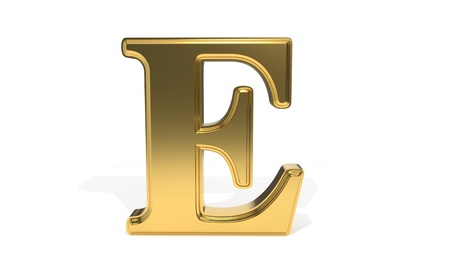 E gold colored alphabet, 3d render Stock Photo