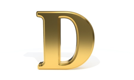 D gold colored alphabet, 3d render