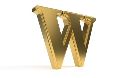 W gold romantic alphabet, 3d render Stock Photo