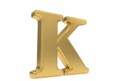 K gold romantic alphabet, 3d render