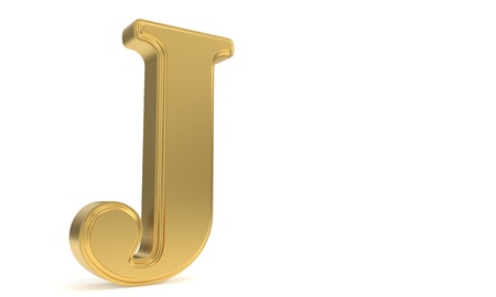 J gold romantic alphabet, 3d render Stock Photo