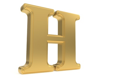 H gold romantic alphabet, 3d render Stock Photo